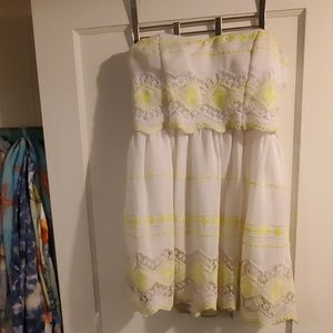 White and neon yellow beach dress